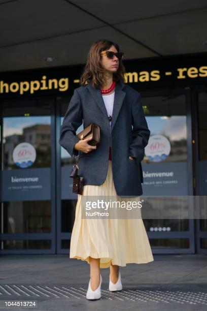 Natasha Goldenberg is seen outside during Paris Fashion Week Womenswear Spring/Summer 2019 on October 1 2018 in Paris France