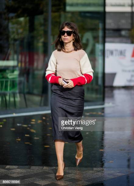Natasha Goldenberg is seen outside Haider Ackermann during Paris Fashion Week Spring/Summer 2018 on September 30 2017 in Paris France