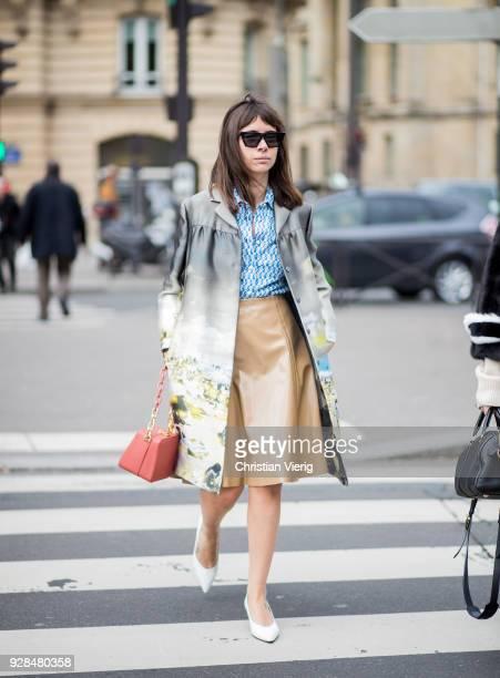 Natasha Goldenberg is seen outside Miu Miu during Paris Fashion Week Womenswear Fall/Winter 2018/2019 on March 6 2018 in Paris France