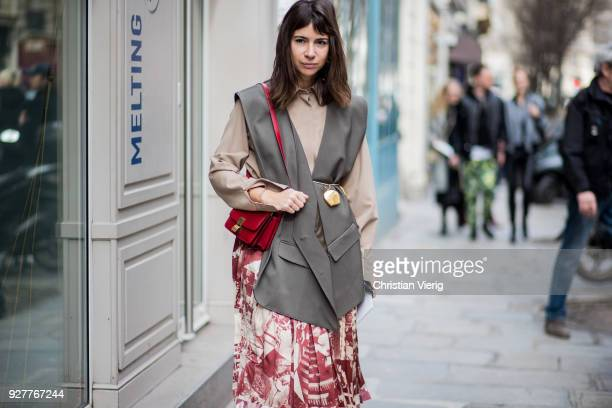 Natasha Goldenberg is seen outside Sacai during Paris Fashion Week Womenswear Fall/Winter 2018/2019 on March 5 2018 in Paris France
