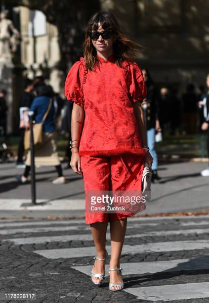 Natasha Goldenberg is seen wearing a red Sacai outfit outside the Sacai show during Paris Fashion Week SS20 on September 30 2019 in Paris France