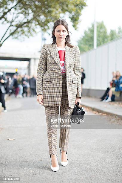 Natasha Goldenberg poses wearing Balenciaga after the Balenciaga show at the Paris Event Center during Paris Fashion Week Womenswear SS17 on October...