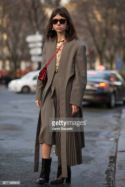 Natasha Goldenberg poses wearing Celine after the Valentino show at Les Invalides during Paris Fashion Week Womenswear FW 18/19 on March 4 2018 in...