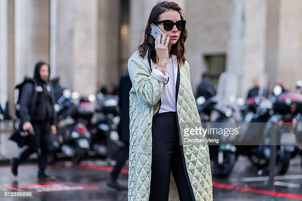 Natasha Goldenberg wearing a mint quilted coat outside Rochas during the Paris Fashion Week Womenswear Fall/Winter 2016/2017 on March 2 2016 in Paris...