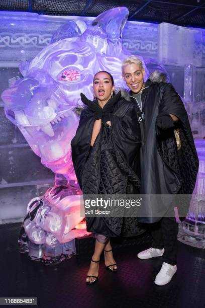 Natasha Grano and Oscar Marmaduke attend a VIP event in celebration of Elijah Rowen's birthday at ICEBAR on August 17 2019 in London England