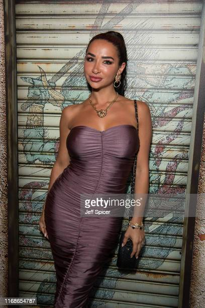 Natasha Grano attends a VIP event in celebration of Elijah Rowen's birthday at ICEBAR on August 17 2019 in London England