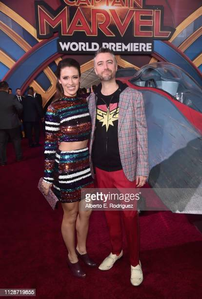 Natasha Halevi and actor Sean Gunn attend the Los Angeles World Premiere of Marvel Studios' Captain Marvel at Dolby Theatre on March 4 2019 in...