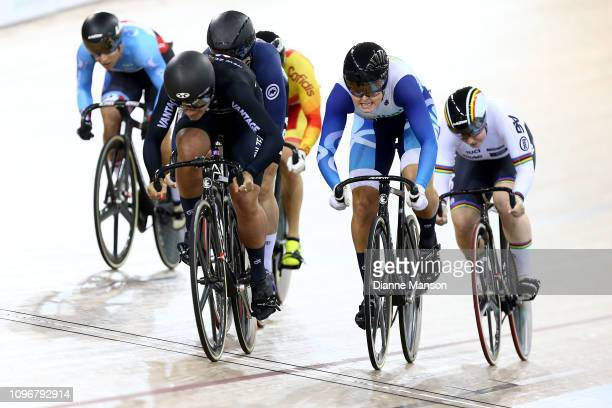 Natasha Hansen of New Zealand competes in the Women's Keirin during the 2018 UCI Track World Cup on January 20, 2019 in Cambridge, New Zealand.