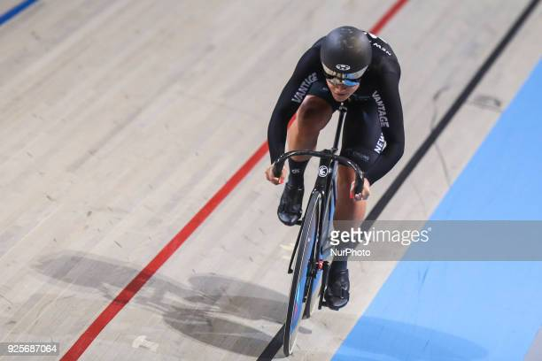 Natasha Hansen of NZL of Women`s team sprint competes at The UCI World Cycling Championships in Apeldoorn on February 28 2018