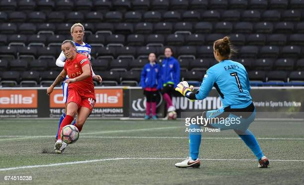 Natasha Harding of Liverpool Ladies scores the second goal making it 2-2 during a Women's Super League match between Liverpool Ladies and Reading FC...