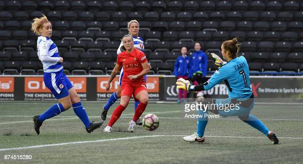 Natasha Harding of Liverpool Ladies scores the second goal making it 22 during a Women's Super League match between Liverpool Ladies and Reading FC...