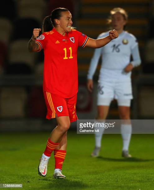 Natasha Harding of Wales celebrates after she scores the first goal during the UEFA Women's EURO 2022 Qualifier between Wales and Belarus at Rodney...