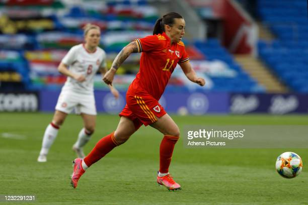 Natasha Harding of Wales in action during the Women's International Friendly match between Wales and Denmark at the Cardiff City Stadium on April 13,...