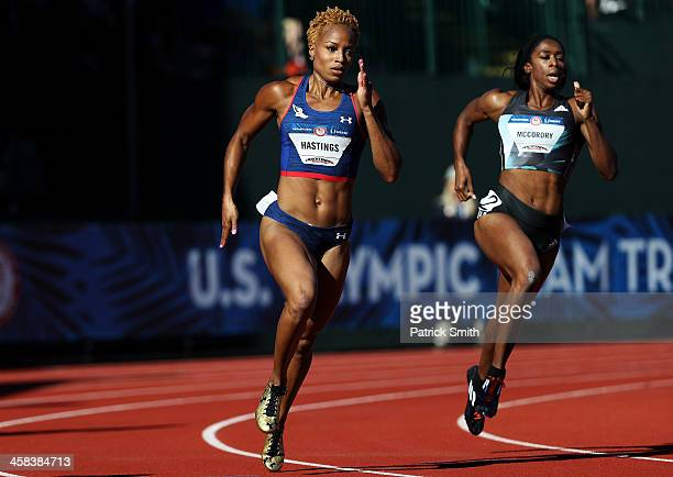 Natasha Hastings and Francena McCorory run in the first round of the Women's 400 Meter Dash during the 2016 US Olympic Track Field Team Trials at...