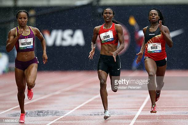 Natasha Hastings Joanna Atkins and Keshia Baker compete in opening round of the women's 400 meter dash during Day One of the 2012 US Olympic Track...