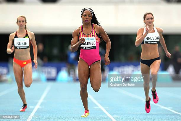 Natasha Hastings of the United States runs to victory in the Women's 200 metres Open during the IAAF Melbourne World Challenge at Olympic Park on...