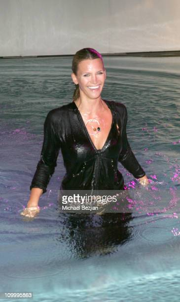 Natasha Henstridge after diving into pool during NEXT Fashion Show at Sky Bar in West Hollywood California United States
