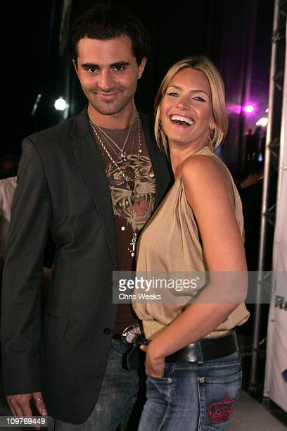 Natasha Henstridge and guest during Rock Republic Love Rocks Fashion Show Spring 2006 White Carpet at Sony Pictures Studios in Culver City California...