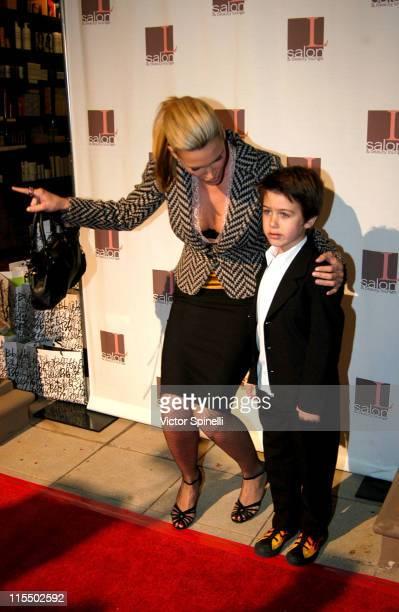 Natasha Henstridge and son Tristan River Waite during The Rebirth of L Salon Fashion Show and Party at L Salon in Los Angeles California United States