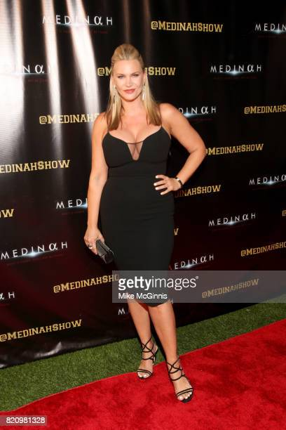 Natasha Henstridge attends the International SciFi Series Medinah premiere and red carpet reception at ComicCon International 2017 at The Manchester...