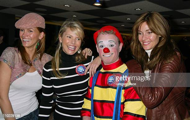 Natasha Henstridge Christie Brinkley and Carol Alt pose with a circus clown