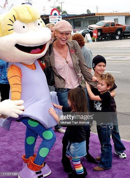 Natasha Henstridge with her sons during Nickelodeon Presents Fairypalooza Premiere for Rugrats Tales From The Crib Snow White Arrivals at Nickelodeon...