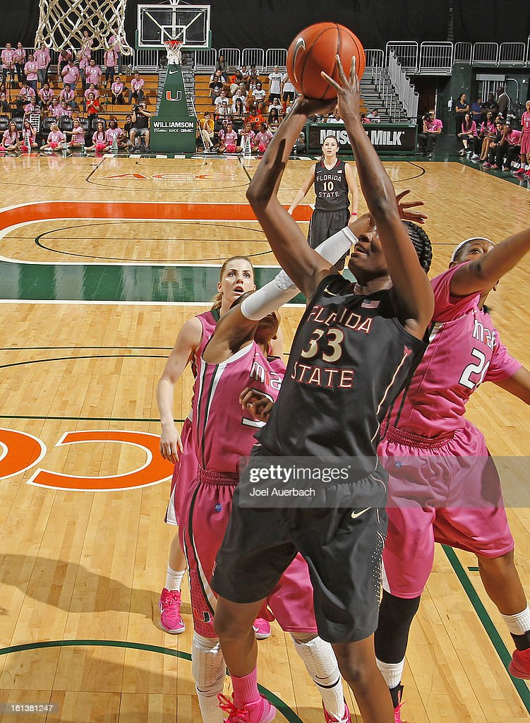 Natasha Howard #33 of the Florida State Seminoles goes to the basket against the Miami Hurricanes on February 10, 2013 at the BankUnited Center in Coral Gables, Florida. The Seminoles defeated the Hurricanes 93-78.