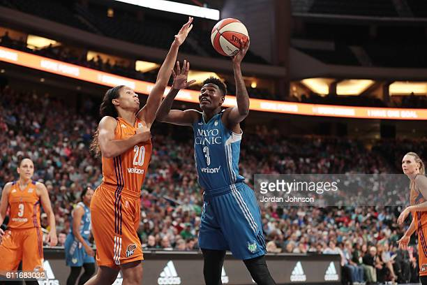 Natasha Howard of the Minnesota Lynx shoots the ball against the Phoenix Mercury in Game Two of the Semifinals during the 2016 WNBA Playoffs on...