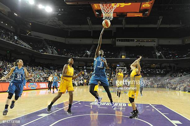 Natasha Howard of the Minnesota Lynx tb against the Los Angeles Sparks during Game Three of the 2016 WNBA Finals on October 14 2016 at Galen Center...