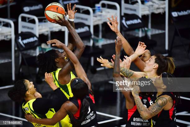 Natasha Howard of the Seattle Storm draws the foul from Jackie Young of the Las Vegas Aces during the first half of Game Two of the WNBA Finals at...