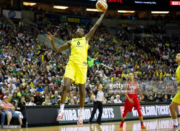 Natasha Howard of the Seattle Storm leaps up for a rebound gains the Washington Mystics during the first half of Game 2 of the WNBA Finals at...