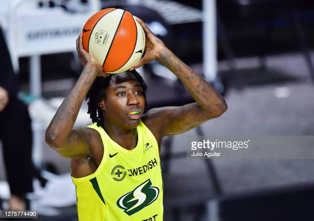 Natasha Howard of the Seattle Storm looks to pass the ball during the second half of Game One of their Third Round playoff against the Minnesota Lynx...
