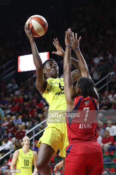 Natasha Howard of the Seattle Storm puts up a shot in front of Ariel Atkins of the Washington Mystics in the first half during game three of the WNBA...
