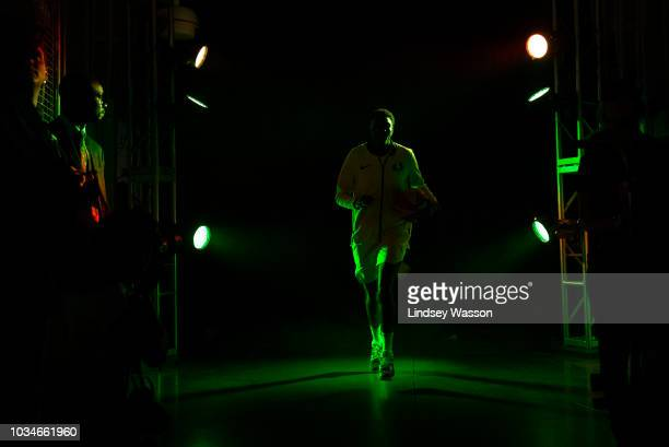Natasha Howard of the Seattle Storm runs out during team introductions before Game 2 of the WNBA Finals against the Washington Mystics at KeyArena on...