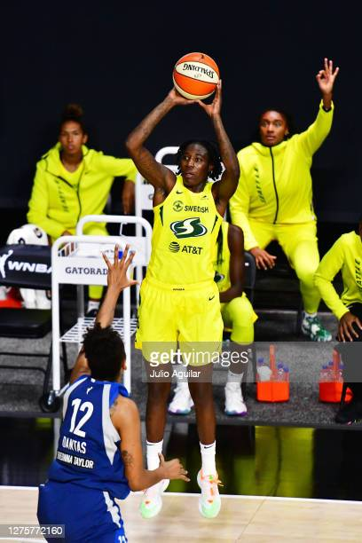 Natasha Howard of the Seattle Storm shoots a three pointer during the first half of Game One of their Third Round playoff against the Minnesota Lynx...