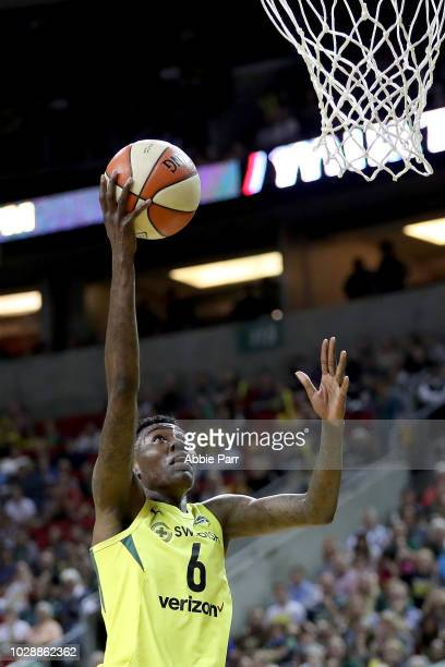 Natasha Howard of the Seattle Storm takes a shot against the Washington Mystics in the first quarter during game one of the WNBA Finals at KeyArena...