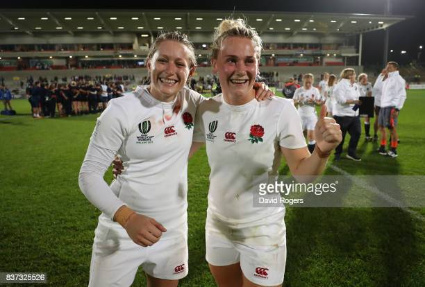 Natasha Hunt and Megan Jones of England celebrate following their team's 203 victory during the Women's Rugby World Cup 2017 Semi Final match between...