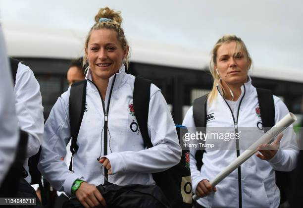Natasha Hunt of England arrives at the stadium prior to the Womens Six Nations match between England and Italy at Sandy Park on March 09 2019 in...