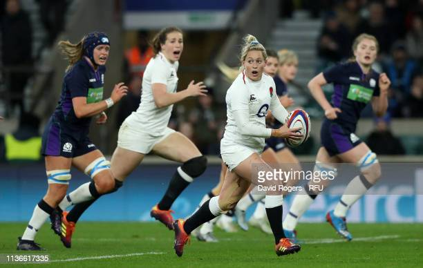 Natasha Hunt of England breaks with the ball during the Guinness Women's Six Nations match between England Women and Scotland Women at Twickenham...