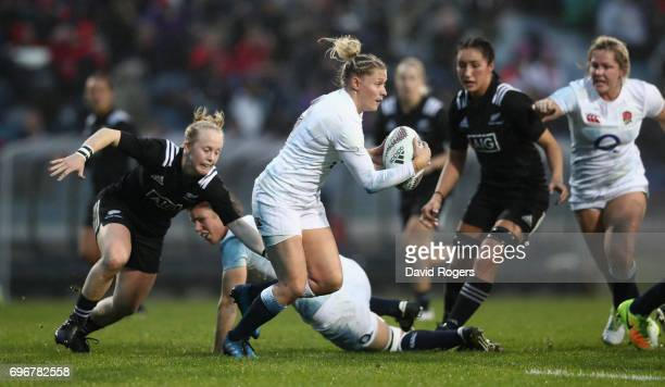 Natasha Hunt of England breaks with the ball during the International Test match between the New Zealand Black Ferns and the England Roses at Rotorua...