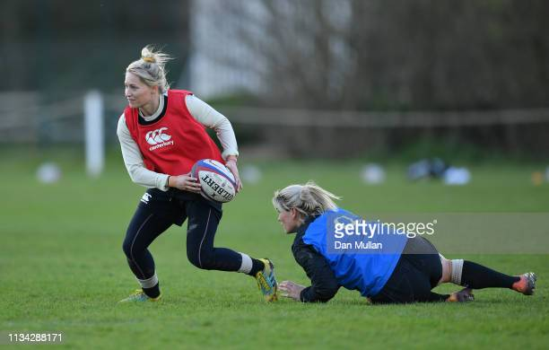 Natasha Hunt of England looks for a pass during an England Women's training session at Exeter University on March 07 2019 in Exeter England