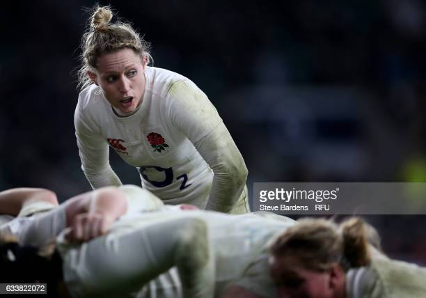 Natasha Hunt of England looks on at a scrummage during the Women's Six Nations match between England and France at Twickenham Stadium on February 4...