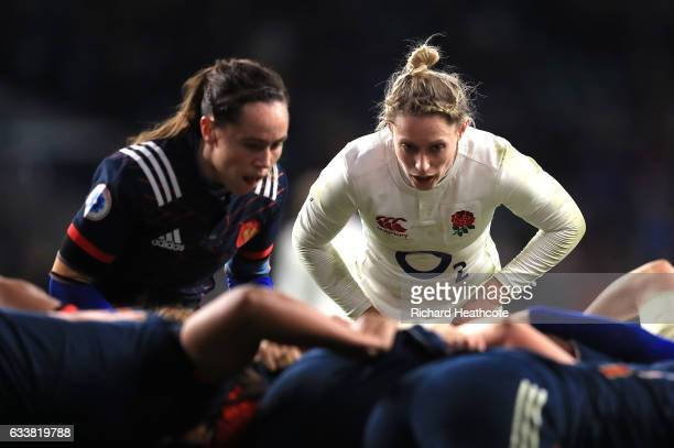 Natasha Hunt of England looks on during a scrum during the Women's Six Nations match between England and France at Twickenham Stadium on February 4...