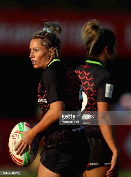 Natasha Hunt of England looks on during day one of the Emirates Dubai Rugby Sevens HSBC World Rugby Sevens Series at The Sevens Stadium on November...
