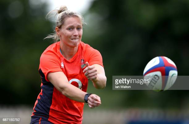 Natasha Hunt of England passes the ball during an England Women Training session at Bisham Abbey on May 23 2017 in Marlow England