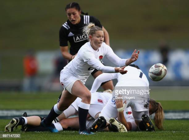 Natasha Hunt of England passes the ball during the International Test match between the New Zealand Black Ferns and the England Roses at Rotorua...