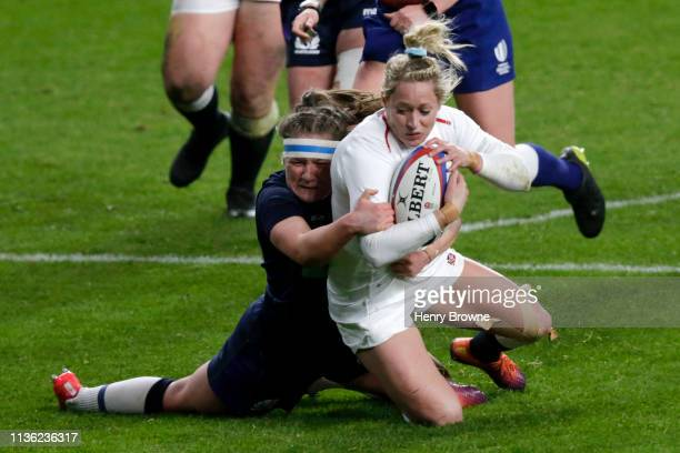 Natasha Hunt of England scores her team's third try during the Women's Six Nations match between England Women and Scotland Women at Twickenham...