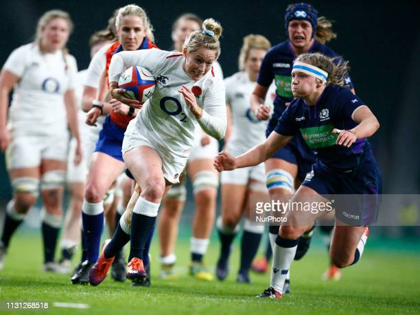 Natasha Hunt of England Womengoes over for her Try during the Guinness 6 Nations Rugby match between England Women and Scotland Womenat Twickenham...
