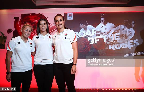 Natasha Hunt Sarah Hunter and Emily Scarratt pose for a photo during the RFU Women's Rugby Unveiling at Twickenham Stadium on October 5 2016 in...