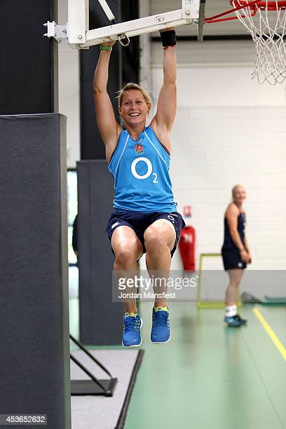Natasha Hunt warms up in the gym ahead of an England Training Session during the IRB Women's Rugby World Cup 2014 at Stade Montelievres on August 15...